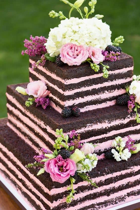 naked cake quadrado para 15 anos