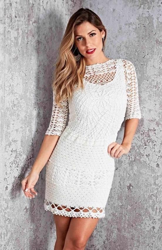 vestido de crochê curto para casamento no civil