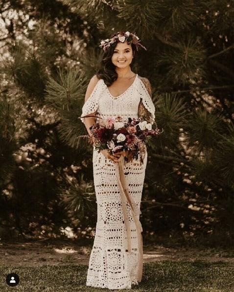 vestido de noiva boho de crochê