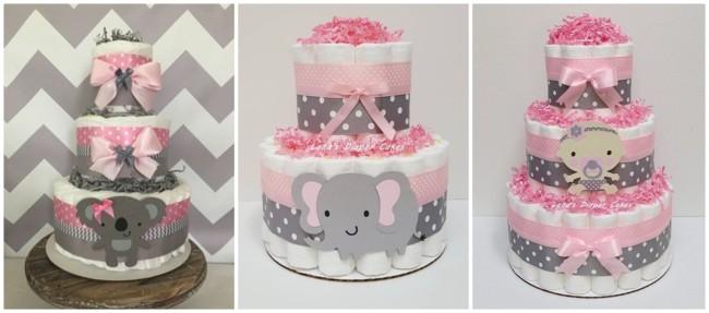 bolo de fraldas rosa e cinza