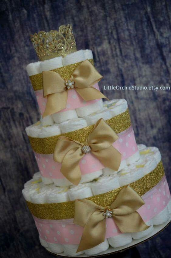 bolo de fralda de princesa