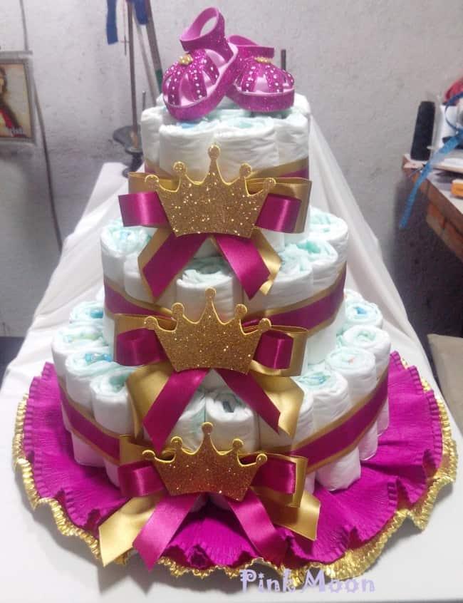 bolo de fralda pink e dourado