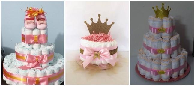 bolo de fraldas rosa e dourado