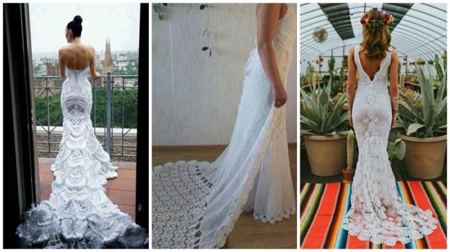 modelos de vestido de crochê com cauda