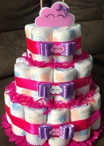 bolo de fralda rosa e roxo