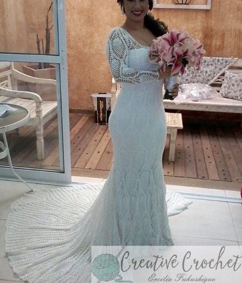 vestido de noiva em ponto abacaxi