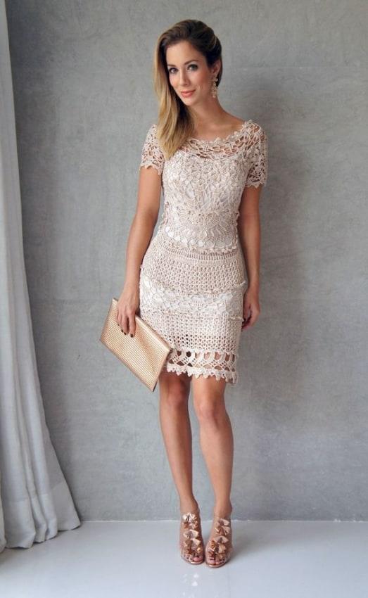 vestido de noiva curto em barbante