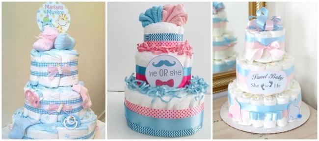bolo de fraldas rosa e azul