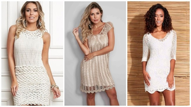 modelos de vestido de crochê curto para noiva