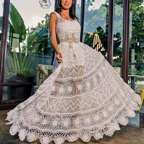 vestido de noiva rodado em crochê
