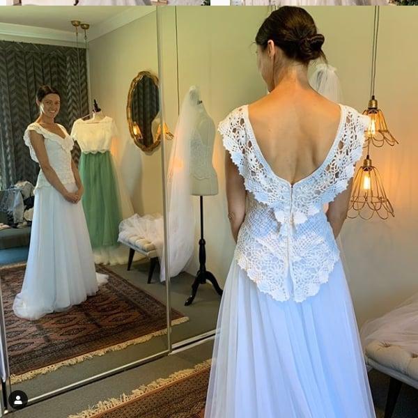 vestido de noiva romântico em crochê