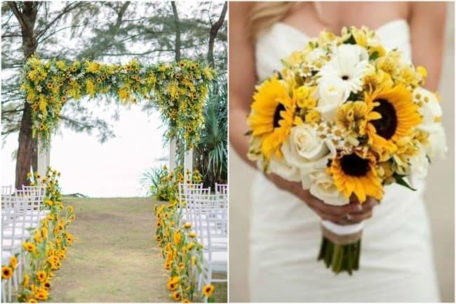 Ambientação e buquê da noiva com girassóis