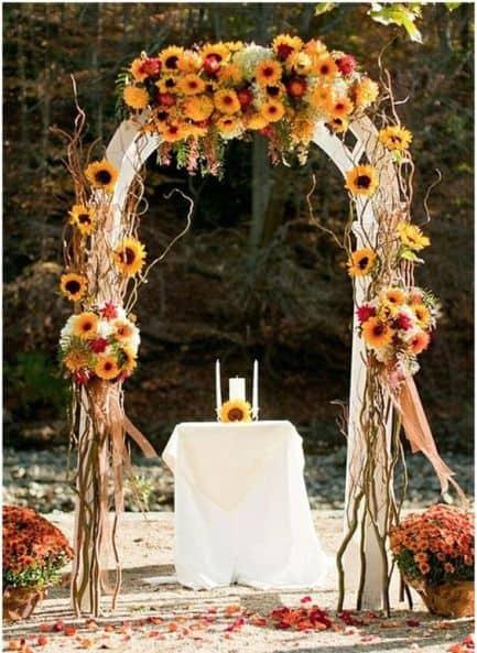 Cerimônia repleta de girassóis