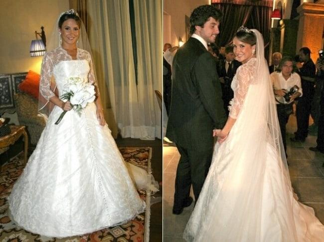 Claudia Leitte com vestido de noiva evasê