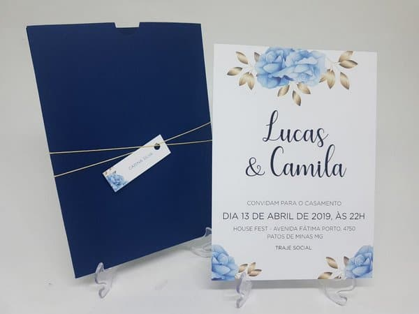 Convite de Casamento Azul ideias
