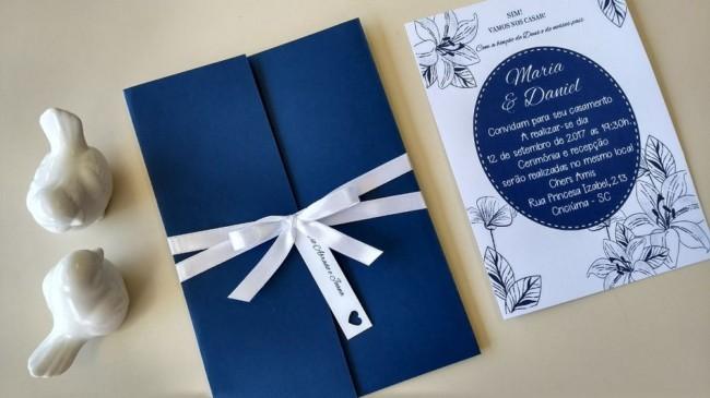 Convite de Casamento Azul pequeno