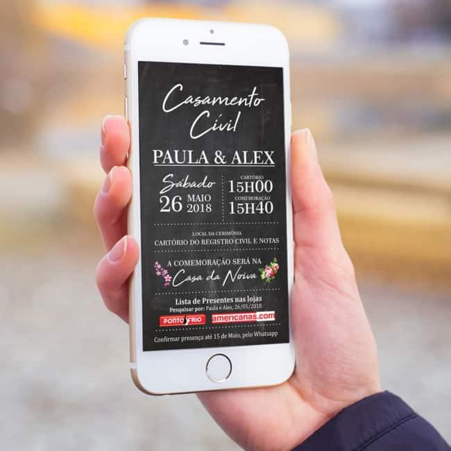 Convite de casamento civil online