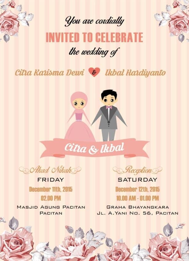Convite de casamento online colorido