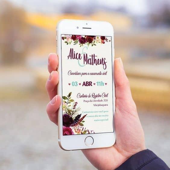 Convite de casamento virtual para smartphone