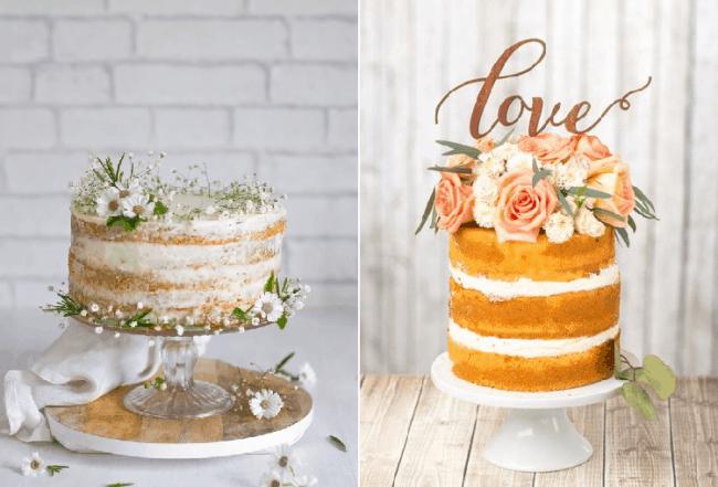 Dois bolos com estilo rústico para noivado