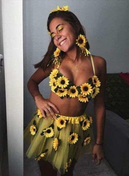 Fantasia de Carnaval feminina com girassóis3