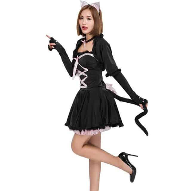 Fantasia de Carnaval feminina de gatinha preta e rosa24