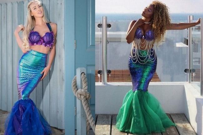Fantasia de Carnaval feminina de sereia azul e verde14
