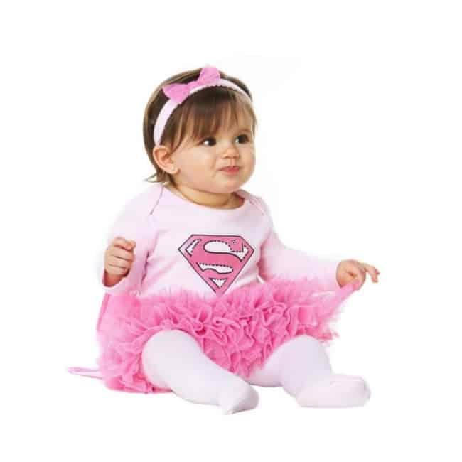 Fantasia de Carnaval para bebê menina de Super Girl rosa40