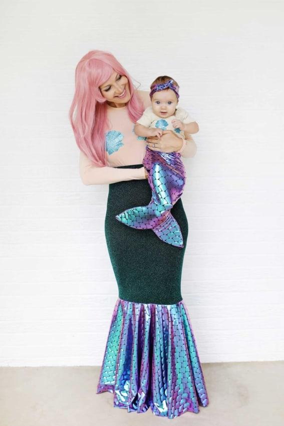 Fantasias de Carnaval para mãe e filha de sereia54