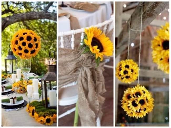 Girassois na decoração da festa de casamento
