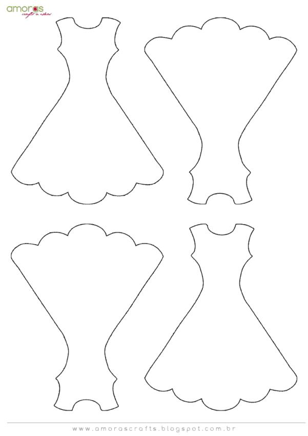 Moldes de lembrancinhas de casamento vestido