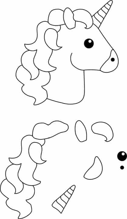 Moldes de lembrancinhas em EVA unicornio