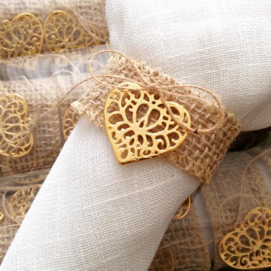 Porta guardanapo para casamento rústico com coração