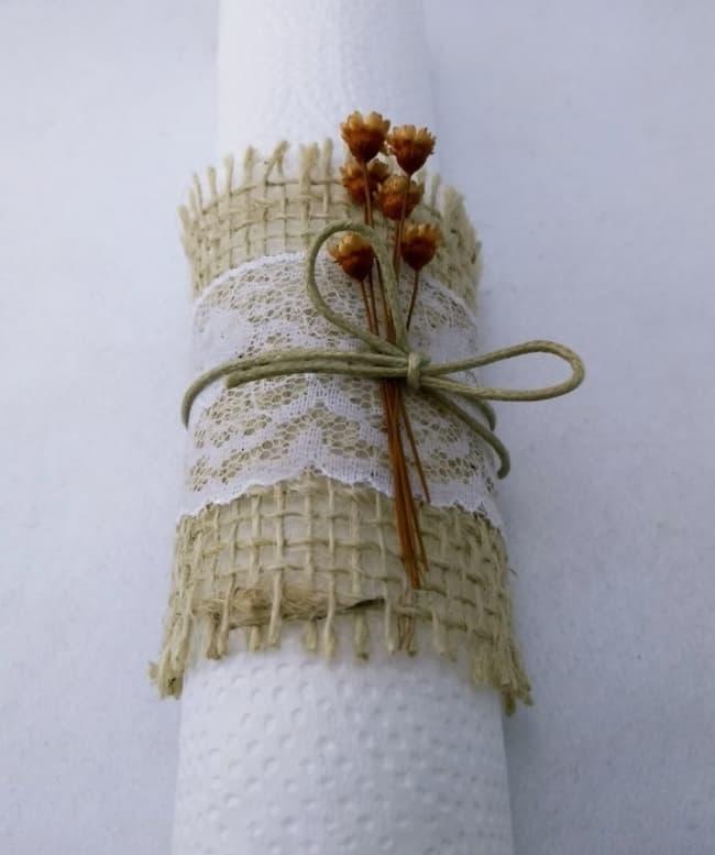 Porta guardanapo para casamento rústico decorado