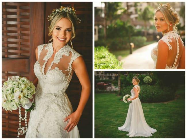 Thaeme com vestido de noiva evasê