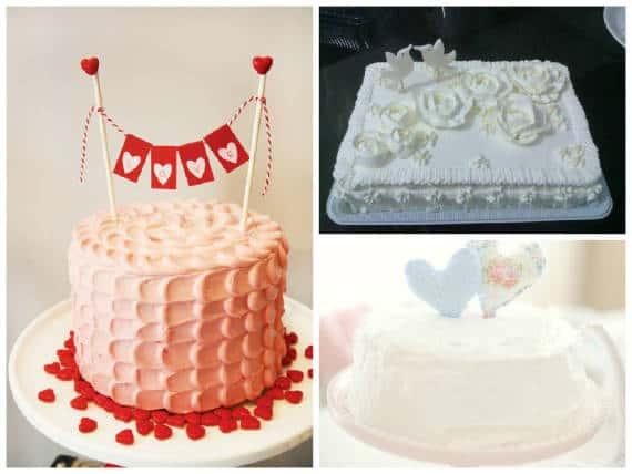 Três opções de bolos de noivado simples
