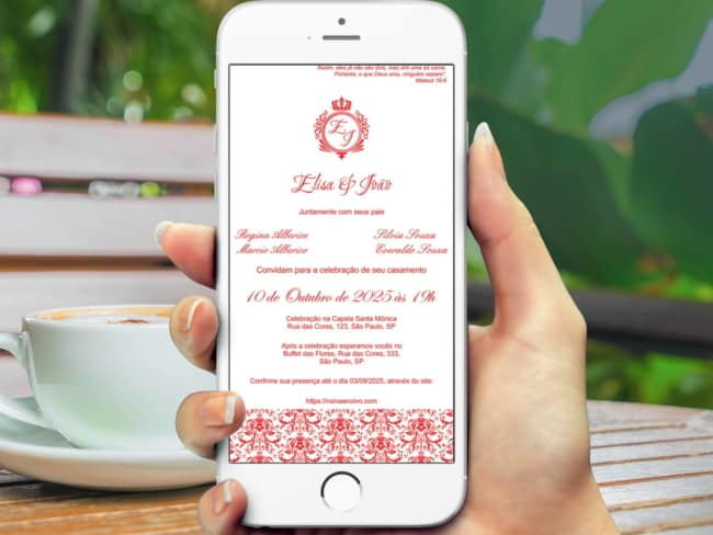 convite de casamento no celular