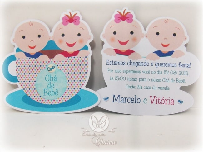 convite de chá de bebê gêmeos