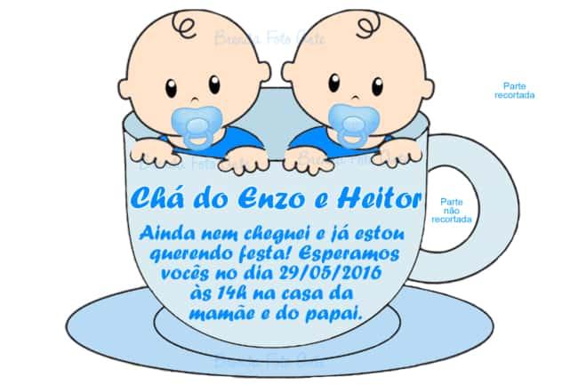 convite para chá de bebê gêmeos