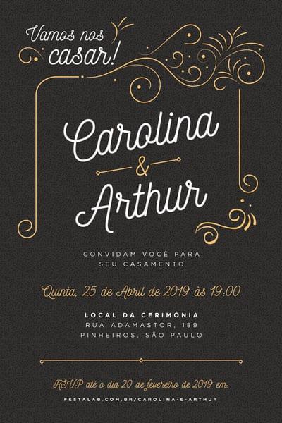 convite preto para casamento