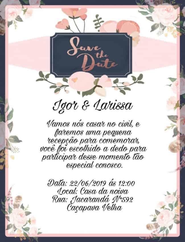 convite simples virtual de casamento