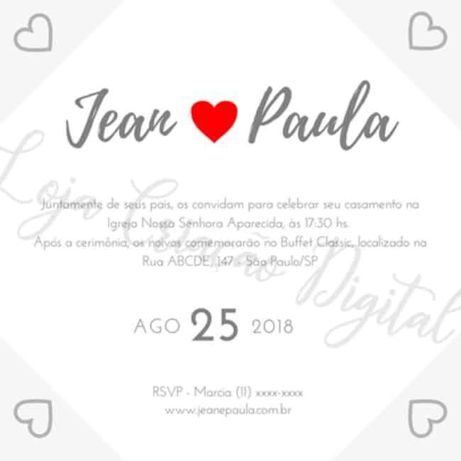 convite virtual de casamento