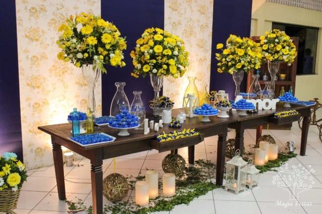 decor de Casamento Azul e Amarelo