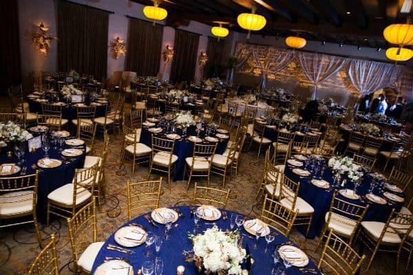 decoração de Casamento Azul e Dourado