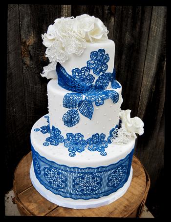 ideia de Bolo de casamento azul