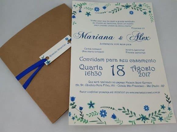ideia de Convite de Casamento Azul