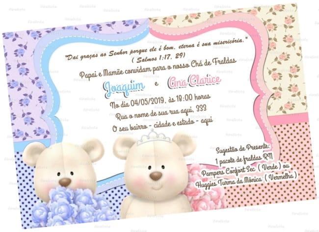 ideia de convite para chá de bebê gêmeos