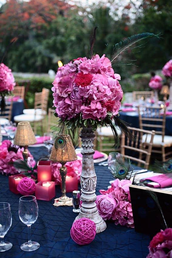 ideia de decor de Casamento Azul e Rosa