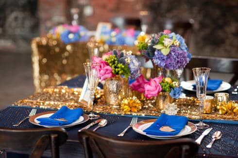 ideias de Casamento Azul e Dourado