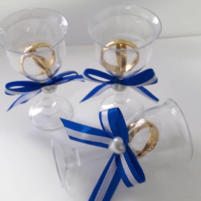 lembrancinha de casamento azul com laços